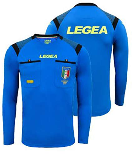 LEGEA Gara, Camiseta árbitro para Hombre, Azul, XS