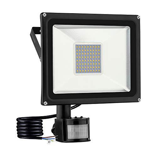 Blivrig Foco LED detector de movimiento led 50W Proyector Led Exterior foco led con detector de movimiento IP66 Impermeable para Jardín, Patio, Garaje,alumbrado público (1pc-Blanco cálido, 50W)
