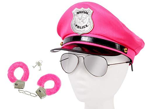 Alsino Damen Polizei Set Uniform (Kv-114) mit Pilotenbrille, Plüschhandschellen und Polizeimütze