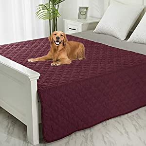 SPXTEX Dog Bed Cover Washable Couch Cover Non-Slip Sofa Cover Furniture Protector Cover Reusable Incontinence Bed Underpads for Pets Kids Children Dog Cat 68″x82″ 1 Piece Burgundy+Pink