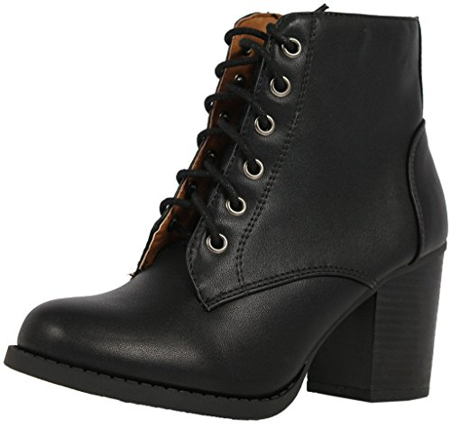 Soda Women Korman Cute Chunky Lace Up Leatherette Zipper Ankle Bootie,Black,8.5