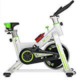 HARUONE Upright Heimtrainer Spinning Fahrrad, Mit LCD-Display Stumm Schalten Sculpting Heimtrainer Adjustable Seat-Sport-Fahrrad,Whitegreen