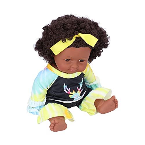 Muñeca Realista, muñeca Africana Ajustable Suave, muñecas Negras, muñeca de Vinilo, 12 Pulgadas de Alto