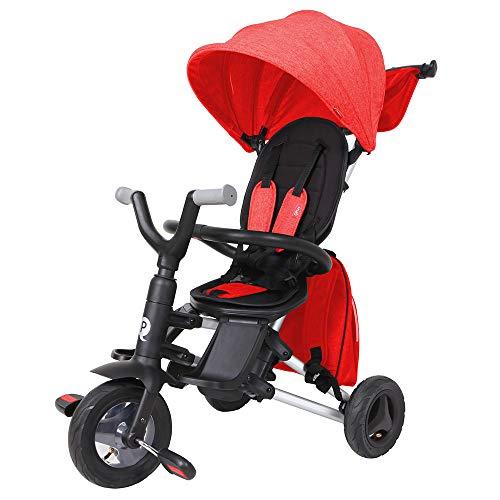 QPLAY - Triciclo Bebe Nova+ - Evolutivo - Plegable - Arnés de Seguridad - Capota con protección UV - Ideal para niños de 10 a 36 Meses (máximo 25 Kg) (Rojo)