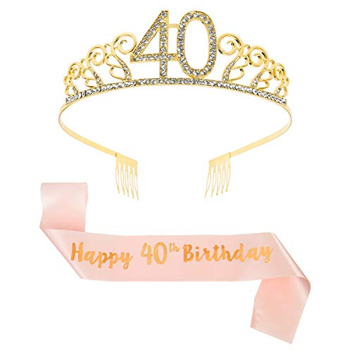 Happy 40th Birthday Faux Gold Tiara and Sash for the birthday princess.