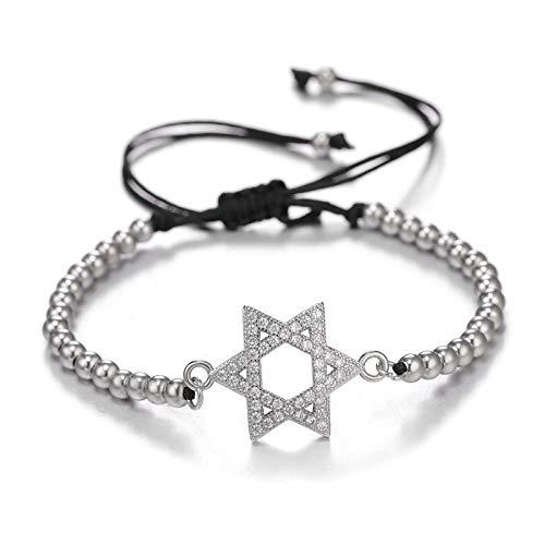 HMANE DIY Craft joyería Encanto Pulseras Micro Pave Zircon Estrella de David Pulseras para Las Mujeres niñas Cadena Ajustable judaísmo Pulseras