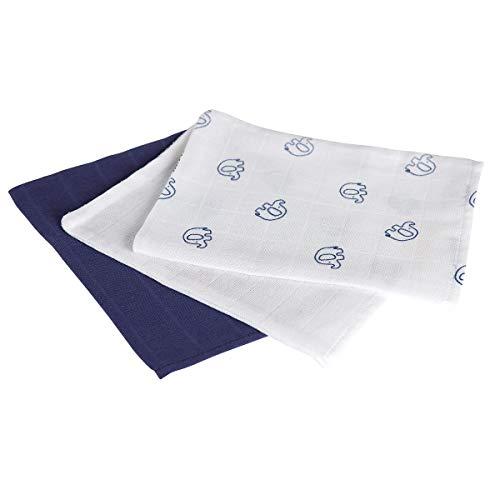 Bornino Lot de 3 gants de toilette en gaze 15 x 20 cm gant de toilette bébé, blanc/bleu