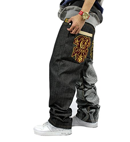 QBO Men's Hip Hop Embroidery Baggy Jeans Denim Loose Trousers-36