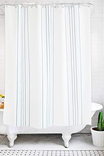 Bathage Modern Stripe Fabric Shower Curtain - Exclusive Waterproof Fabric - No Liner Necessary - Clean Design for The Modern Bath - Sea Glass (Light Blue) and White