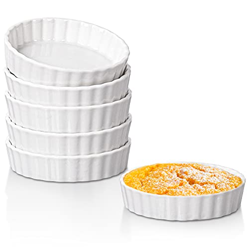 Dizada Quiche Pans Ramekins, 4 inch Mini Fluted Quiche Baking Dish Porcelain Tart Pan Baking Pans Perfect for Baking Small Tart Pies, Creme Brulee, Custard Dishes and Mini Cheesecake - Set of 6