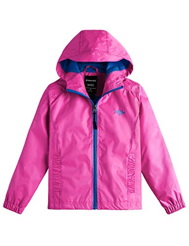 Wantdo Girl's Hooded Lightweight Jacket Raincoat for Traveling Rose Red 14/16