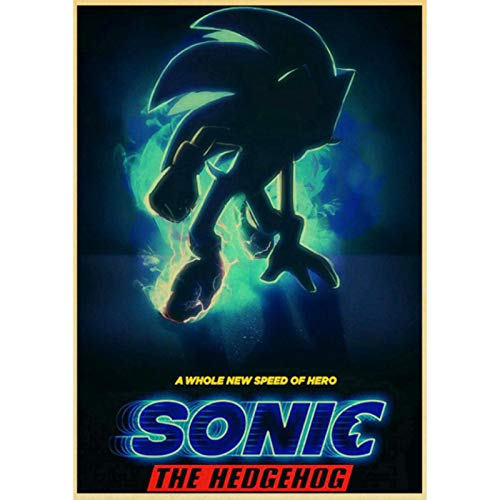 shuimanjinshan Movie Sonic the Hedgehog Retro Poster Prints Clear Image Room Bar Home Art Painting Wall Stickers 40x60cm No Frame HZ-1209
