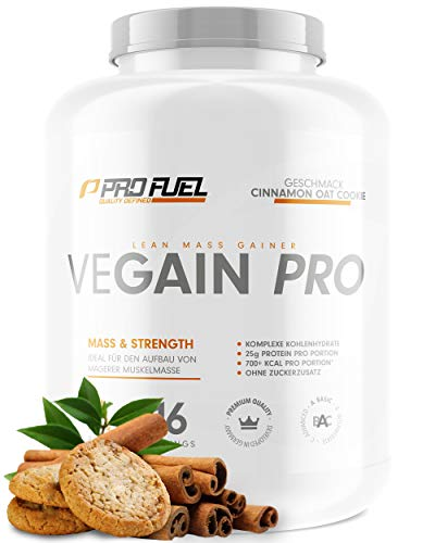 VEGAIN PRO | Weight & Mass Gainer | 100{24bd9ec03e4e3bd9b55d67bff0232584013a2bde0ca9a93c09c24e9855116af9} Vegan | Komplexe Kohlenhydrate + veganes Protein für den Muskelaufbau | Sehr lecker | Ohne Maltodextrin | Made in Germany | 2,2 kg - CINNAMON OAT COOKIE