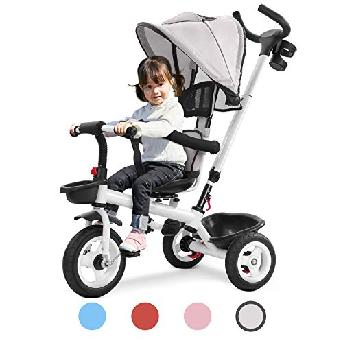 Kuntai Toddler Tricycle Stroller Trike with Parent Handle for Children 1-5 Years Old, Giant Baby/Boy/Girl Beginner Bike 4 in 1 Trike, 3 Wheels, Push Handle, Toddler Seat, Straps Toddler (Gray)