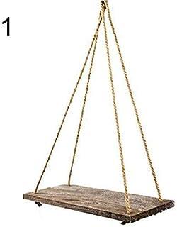 Pared Swing Estanterías Almacenamiento Madera Colgante Estante Cuerda de Yute Organizador Estante Hogar Bricolaje Decoración - 1