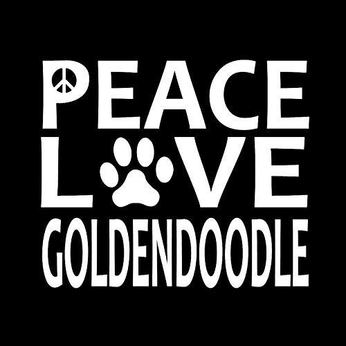 WZHLI Pegatinas Coche Etiqueta 15.2cm X 12.8cm Paz Amor Goldendoodle Vinilo Adhesivos de Perro for Huellas Negro/Plata Pegatinas Familia para Coche (Color Name : Silver)