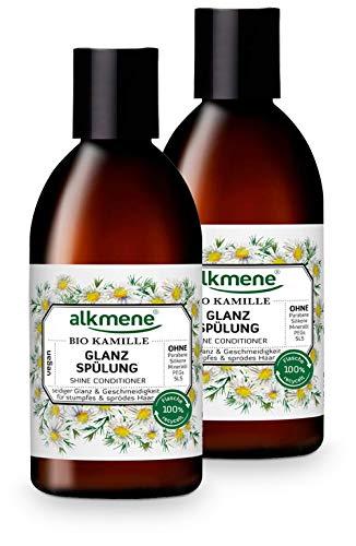alkmene Glanz Spülung mit Bio Kamille - Haarspülung für stumpfes & sprödes Haar - vegane Haar Spülung ohne Silikon, Parabene, Mineralöl, SLS & SLES - Haarpflege im 2er Vorteilspack (2x 250 ml)