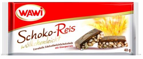 WAWI Schoko Reis Riegel Edelvollmilch Schokolade, 30er Pack (30 x 40 g)