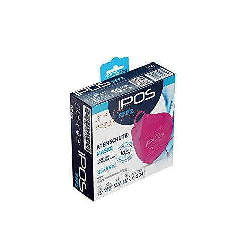 IPOS FFP2 Maske Pink CE Zertifiziert - 10 Stück, Einzelverpackung in PE-Beutel, 5-lagig, anpassbarem Nasenbügel, Gummizug, farbige Atemschutzmaske