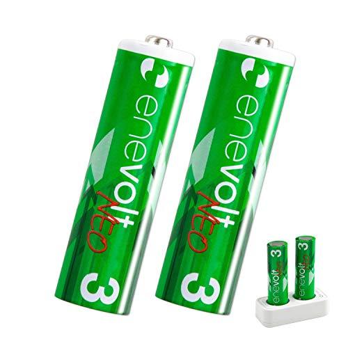 enevolt 単3 リチウム 充電池 1650mAh 1.5V 専用充電器 セット エネボルトネオ PSE 認証済 - 2本セット