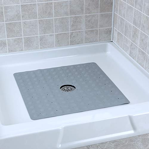 SlipX Solutions Gray Square Rubber Safety Shower Mat with Microban Antimicrobial Product Protection, Reliable Slip-Resistance in Shower Stalls (21 Inch Sides, Mildew Resistant, 140 Suction Cups)