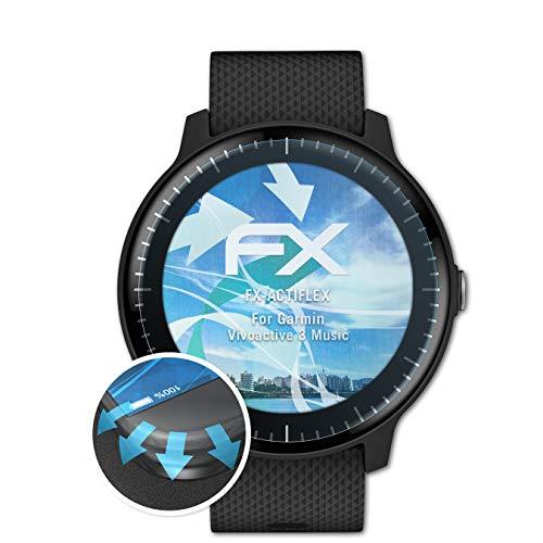 atFoliX Schutzfolie kompatibel mit Garmin Vivoactive 3 Music Folie, ultraklare & Flexible FX Bildschirmschutzfolie (3X)