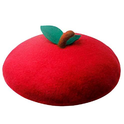 Handmade Cute Red Apple Beret Vintage Artist Painter Hat Women Wool Cap Warm Winter Love Gift