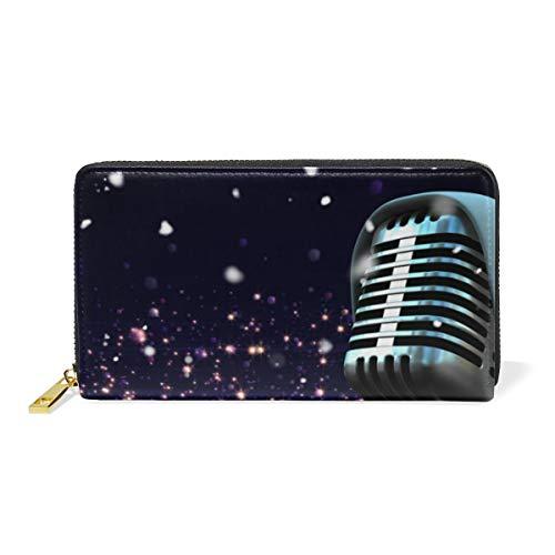 DEZIRO Microfoon Met Kerstman Hoed Patroon Lady portemonnee Zip Rond Credit Card Case