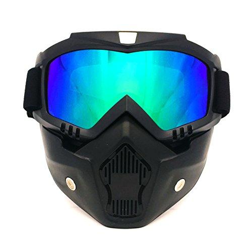 Spohife Schutzbrille für Motocross und Motorrad, abnehmbare modulare Gesichtsmaske, winddicht, UV-400-Schutz , mehrfarbig