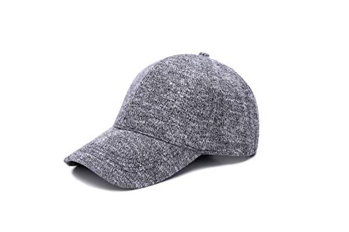 JOOWEN Unisex Knitted Textured Baseball Cap Soft Adjustable Solid Dad Hat for Women Men (Grey)