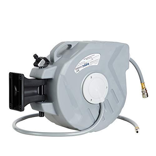 AREBOS Druckluftschlauch Aufroller | Automatik Schlauch Aufroller | Wandhalterung | 1/4 Zoll Schnellkupplung | UV-beständig | 180° Schwenkbar | inkl. Montagehalter (15 m)