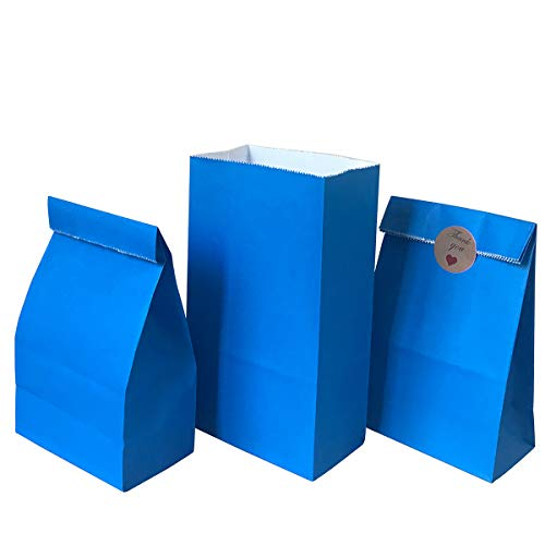 Party favor Bag 50 pcs Food Safe Paper and Ink, Natural (Biodegradable), Vivid Colored Self-stand Buffet Bags, Bottom Square Paper Treat Bag. with 60 pcs Stickers 1.5 inch. (Blue)…