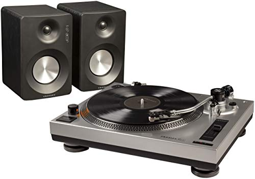 Crosley K100A-SI Belt-Drive Turntable Stereo System with Bluetooth Speakers, Silver