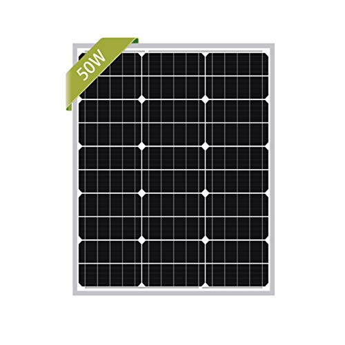 Newpowa 50W Mono Solar Panel 50 Watts Monocrystalline Module with 3ft Cable for RV,Boat,Home Off Grid System