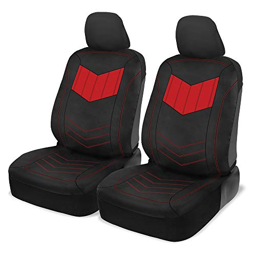 Motor Trend Super Sport Red Faux Leather Car Seat Covers, Front...