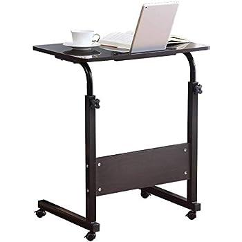 Computer Student Laptop Desk Height Adjustable Wooden Laptop Table Computer Standing Desk with Tablet iPad Slot Mobile Workstation with Wheels (Black)