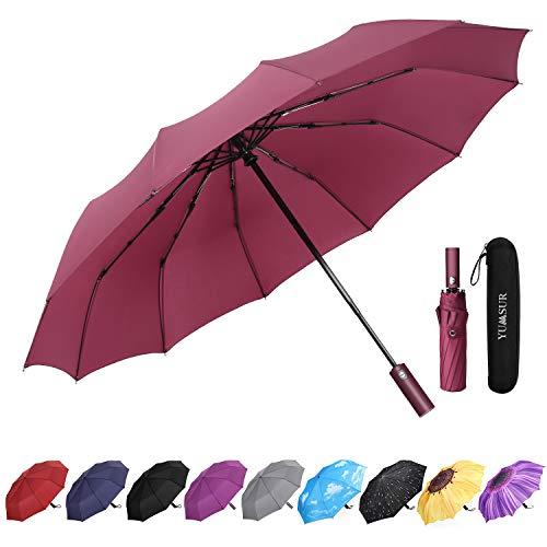 YumSur Regenschirm Taschenschirm umgekehrter Regenschirm Umbrella- inkl. Schirm-Tasche & Reise-Etui - Auf-Zu-Automatik, Teflon-Beschichtung, windsicher, stabil