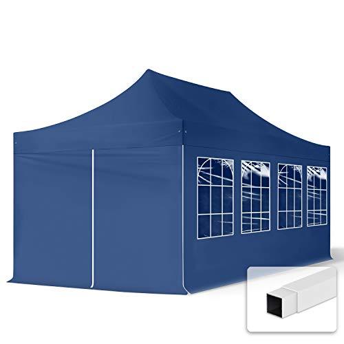 TOOLPORT 3x6m Gazebo Plegable - 4 Paneles Laterales PES300 Gazebo Plegable de Acero Carpas de Fiesta en el jardín Azul