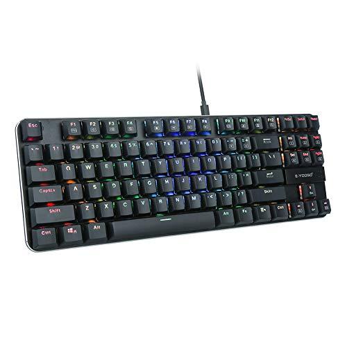 E-YOOSO K630 RGB mechanische Gaming-Tastatur, super dünn und super leicht, 87 Tasten, kompakte Tastatur mit blauen Schaltern für PC-Spiele, schwarz