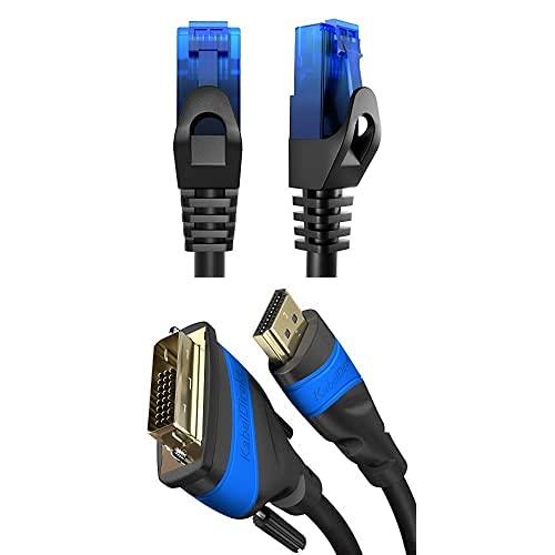 KabelDirekt Bundle, 0.25 m, Cable de red, Ethernet, cable LAN y Patch y cable adaptador HDMI-DVI de 3 m (bidireccional, DVI-D 24+1/cable HDMI High Speed, Full HD)