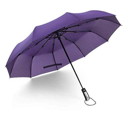 ZGMMM Paraguas Plegable Completamente automático para Hombre Paraguas automático a Prueba de Viento Paraguas Negro para Mujer Sombrilla automática China Púrpura