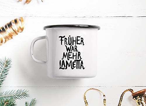 Emaillebecher Tasse - Lametta - von typealive - Weihnachtlicher Becher in schwarz und weiß mit lustigem Spruch zum Verschenken an Weihnachten oder Geburtstag