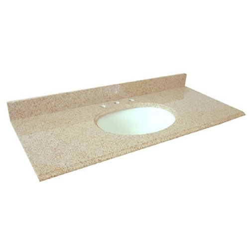 Pegasus PE49682 49-Inch Granite Vanity Top with White Bowl and 8-Inch Spread, Beige