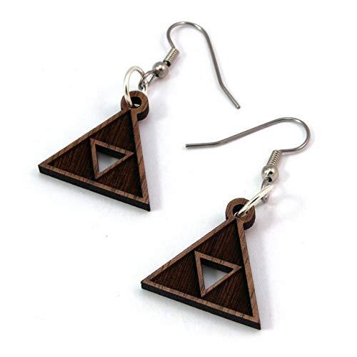 """Triforce Earrings made of Sustainable Walnut - Small (.8"""" long)- Wood Hook Dangle Drop Earrings"""