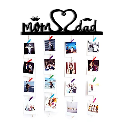 Vah Wood Mom and Dad Hanging Photo Display Picture Frame Collage Organizer with Clips (Black)