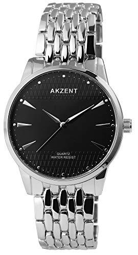 Akzent - Reloj de pulsera analógico para hombre (cuarzo, metal), color negro y plateado