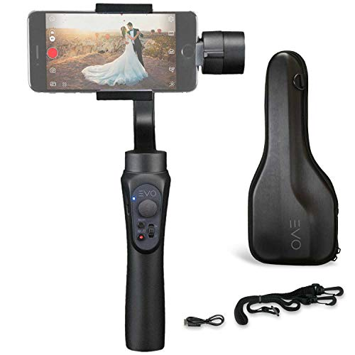 EVO Shift 3 Axis Handheld Gimbal for iPhone & Android Smartphones - Intelligent APP Controls for Auto Panoramas, Time-Lapse & Tracking + Built in Phone Charging - Includes 1 Year US Warranty | Black