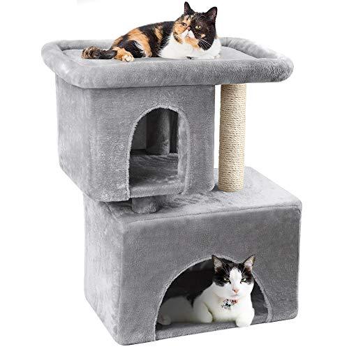 BEAU JARDIN 84 cm Kratzbaum für Großer Katzen mit Großer Plattform und Katzen-Spielhaus mit Sisal-Kratzstämmen Stabiler Kletterbaum Kletterbaum für Katzen mit Kratzbäume Plüsch Sitzstangen Möbel