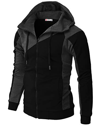 H2H Mens Casual Slim Fit Hoodie Jackets High Neck Zipper Closer with Pockets Black US M/Asia L (CMOHOL064)