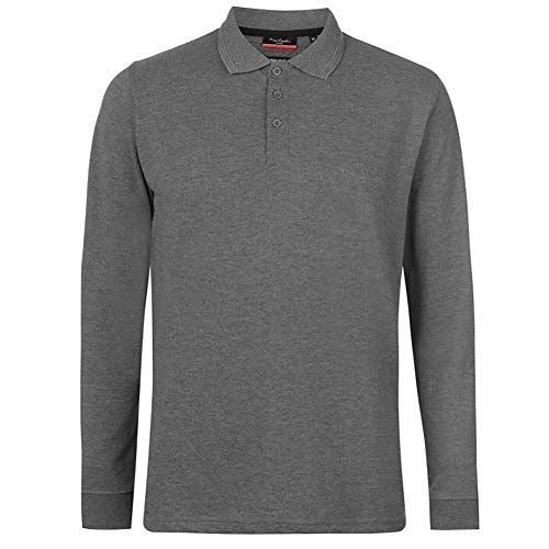 Pierre Cardin Mens Neue Saison langarm Klassisches Premium Polo T-Shirt anbringen. (3X-Groß, Holzkohle Marl)
